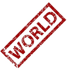 World rubber stamp vector image
