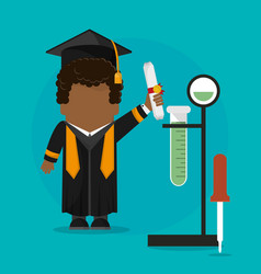 graduate student certificate with testt tube vector image