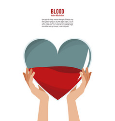 hands holding blood heart vector image