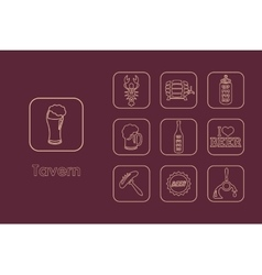 Set of tavern simple icons vector image vector image