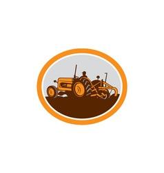 Vintage Farm Tractor Farmer Plowing Oval Retro vector image vector image