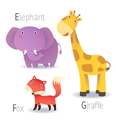 Alphabet with animals from E to G vector image vector image