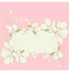 Apple blossom frame background vector image