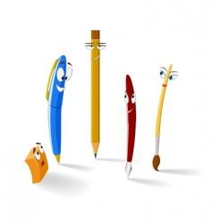 cartoon stationery items vector image