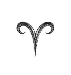 hand drawn aries zodiac sign vector image