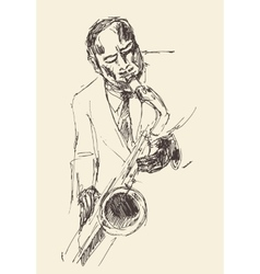 JAZZ Man Playing the Saxophone Hand Drawn Sketch vector image vector image