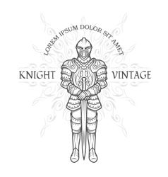 Medieval knight in armor with a sword vector image vector image
