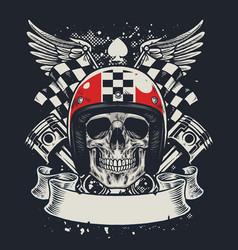 skull of biker in t-shirt style design vector image vector image