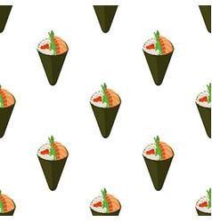 temaki tasty food seamless pattern vector image vector image