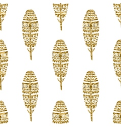 Gold Glitter Feathers Seamless Pattern vector image vector image