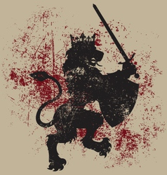 Grunge Lion King Heraldry vector image