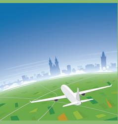 prague skyline flight destination vector image vector image
