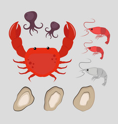 seafood flat tasty cooking delicious can be used vector image