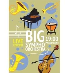 Big symphonic orchestra live concert poster vector