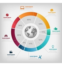 Global diagram colorful infographic on gray vector