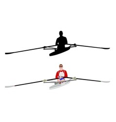 rower silhouette and vector image
