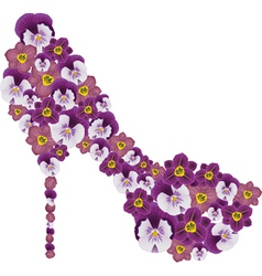 Shoe decorated with flowers vector image vector image