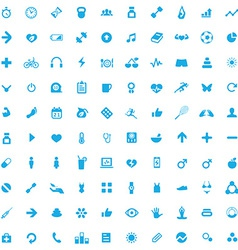 100 fitness icons vector image