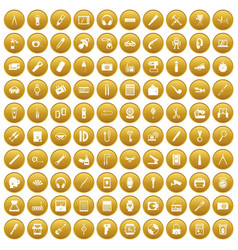 100 portable icons set gold vector