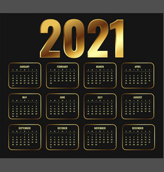 2021 new year calendar in golden shiny style vector