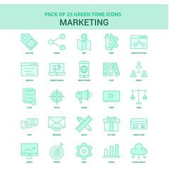 25 green marketing icon set vector image