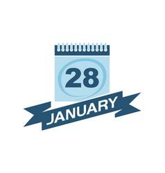 28 january calendar with ribbon vector image