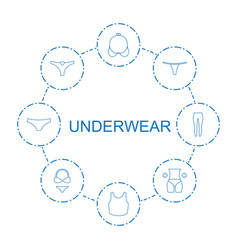 8 underwear icons vector