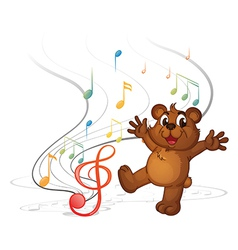A dancing bear and the musical notes vector