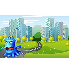 A monster running at road near buildings vector