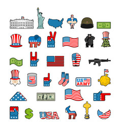 america icon set national sign of usa american vector image
