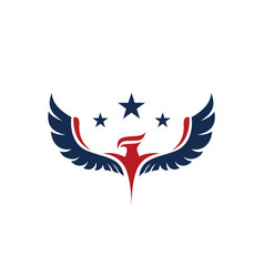 american eagle with three stars on top in red and vector image