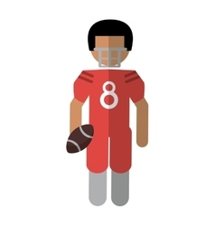 american football player with helmet and ball vector image