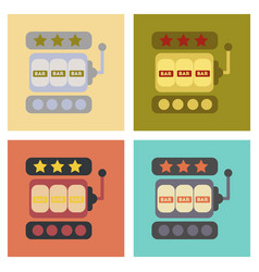 Assembly flat icons poker slot machine vector
