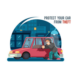 Automobile car steal burglar robber thief robbery vector