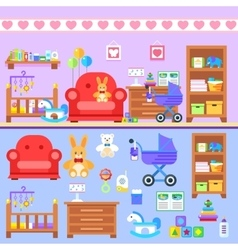 Baby firl room with furniture Nursery interior vector