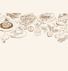 Background with italian food ingredients vector