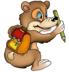 Bear schoolboy vector