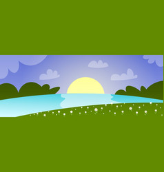 beautiful spring landscape with sunset river vector image