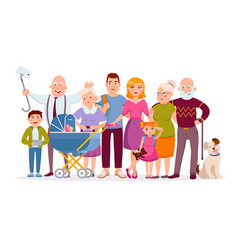 big family standing together as a family portrait vector image