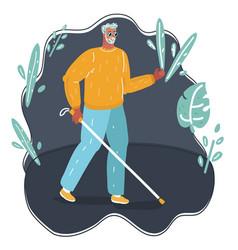 Blind man walking white cane vector