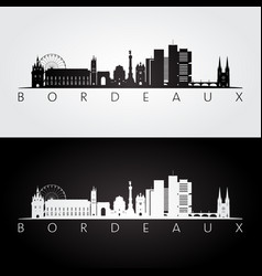 Bordeaux skyline and landmarks silhouette vector