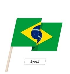 Brazil Ribbon Waving Flag Isolated on White vector image