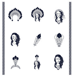 Bundle natives american women and feathers vector