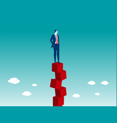 businessman balancing on red box vector image
