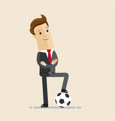 businessman with football concept business vector image