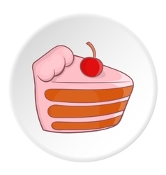 Cake with cherries icon cartoon style vector image vector image