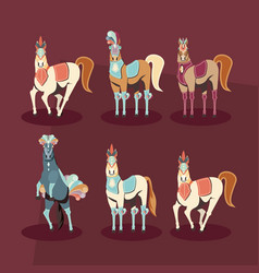 Carnival horses set with masks feathers vector