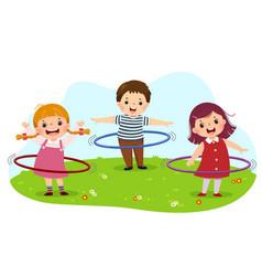 Cartoon kids playing hula hoop vector