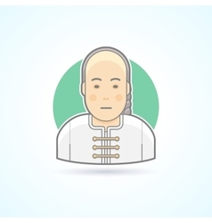 Chinese man in traditional close icon vector