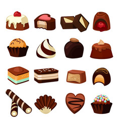 Chocolate desserts of sweets and vector